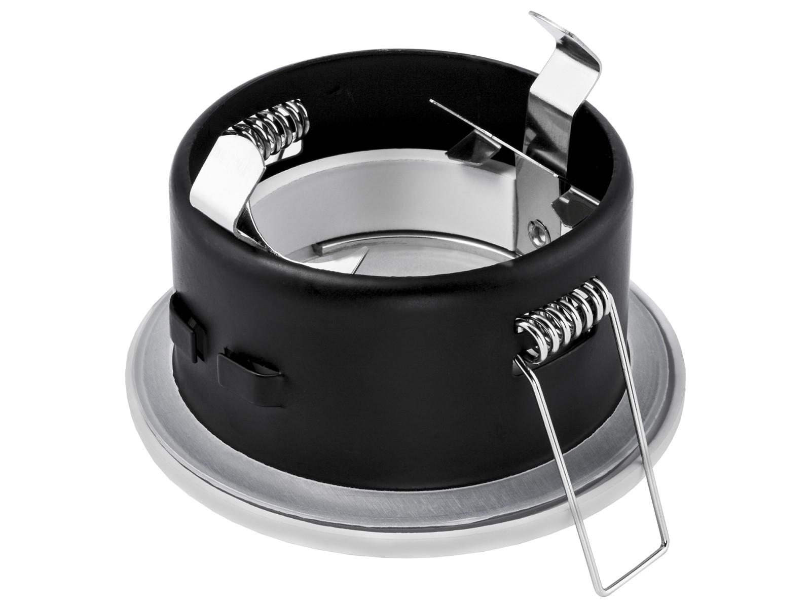led einbaustrahler ip65 neutralwei gu10 6w 230v edelstahl optik rund starr. Black Bedroom Furniture Sets. Home Design Ideas